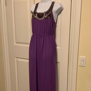 Bailey Blue purple jeweled long maxi dress.